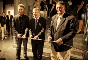Michel, Thomas Bach and Jimmy Conner open the special exhibition in the Olympic Museum